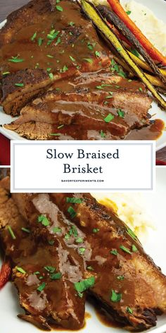 A slow, red-wine Braised Brisket is the perfect EASY dinner with minimal effort. A prime cut of beef, slowly roasted and fall apart tender! #braisedbrisket #redwinebrisket #bestbrisketrecipe www.savoryexperiments.com