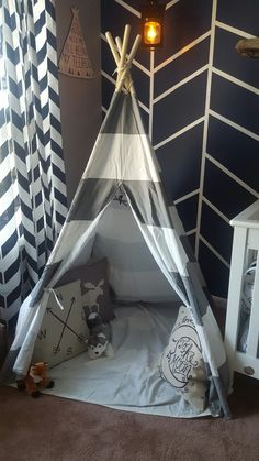 Woodland nursery. Gray and white teepee. Handmade lantern night light. Herringbone  wall and curtains
