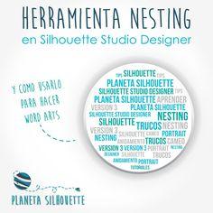 """Tutorial herramienta """"nesting"""" y como usar el Nesting o Anidamiento para hacer word arts - Planeta Silhouette Silhouette Cameo 2, Silhouette Cameo Tutorials, Silhouette Portrait, Silhouette Projects, Silhouette Studio, Word Art, Tips, Self, Cricut"""