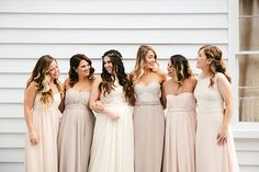 Nail the mismatched bridal party trend using Paper Crown bridesmaid dresses