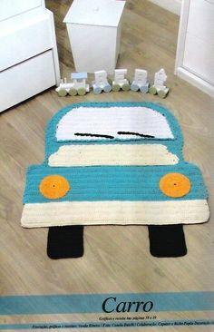 Car crochet rug in Russian Crochet Mat, Crochet Carpet, Crochet For Kids, Crochet Dolls, Crochet Home Decor, Crochet Crafts, Crochet Projects, Animal Rug, Crochet Accessories