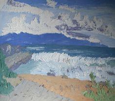 @saatchiart #saatchiart  #Fresco #art #Mural #expressionism #modernism #textured #paintings #creative #painting #artists #color #Cherepanova #Contemporaryfresco #Aleksandra #seascape #sea #ocean #water #nature #mountains #water