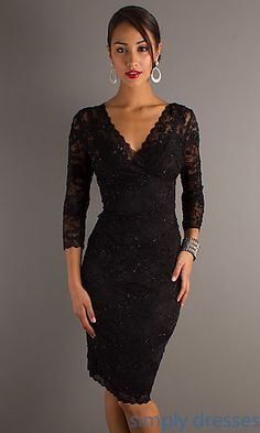 Shop Simply Dresses for 3/4 sleeve cocktail dresses in black for wedding guests or formal affairs. Short dresses in black or sliver lace.
