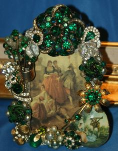 Your place to buy and sell all things handmade Handmade Picture Frames, Vintage Picture Frames, Jewelry Tree, Jewelry Ideas, Green Theme, Grad Parties, Ornament Wreath, Emerald Green, Christmas Trees
