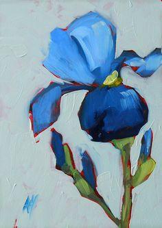 lovely blue iris original painting by moulton by prattcreekart