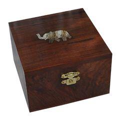 Amazon.com - Square Wooden Jewelry Box Brass Inlay Elephant Design -