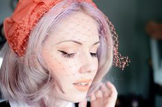 Vintage hat and lavender hair. Coral veiled vintage hat by night.owl.  Lipstick in Cosmopop by Lime Crime.