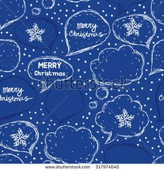 Merry Christmas. Seamless pattern. Speech bubbles. Sketch style. Vector illustration of a Christmas greeting.