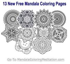 Madala! Coloring pages for adults are so cool. This site has about 20 free printable mandalas :)