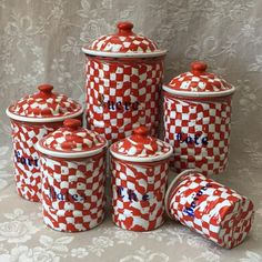 Rare Antique French Enamelware Graniteware Red DROOPY CHECK
