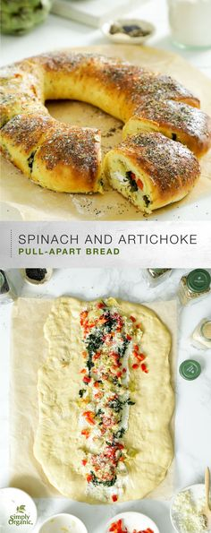 A beautiful pull-apart bread wreath rolled around savory goat cheese, spinach and artichoke filling, and topped with organic poppy seeds, garlic and dried herbs.
