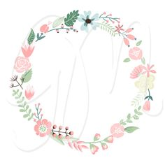 Wedding Floral clipart Digital Wreath Floral от GraphicMarket