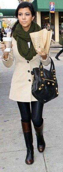 Kourtney Kardashian - love the military green scarf with the trench coat. Great fall look.
