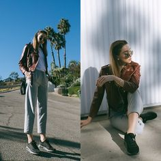 Get this look: http://lb.nu/look/8485161  More looks by Ana  Prodanovich: http://lb.nu/anaprodanovich  Items in this look:  Zara Leather Jacket, Aritzia Trousers, Nike Air Max Zeroes