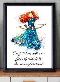 Disney Princess Merida Brave Watercolor Poster by GenefyPrints