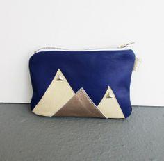 Pyramid Studded Mountain Pouch Blue Leather Zipper Geometric Purse   gmaloudesigns - Bags & Purses on ArtFire