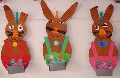 * Paasmandje Paashaas. Eenvoudig en creatief paasmandje wat de kinderen met gemak zelf kunnen maken.