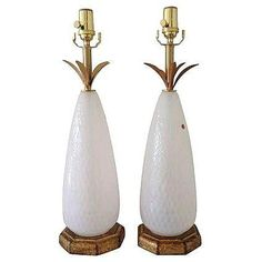 Image of Mid-Century White Murano Glass Lamps - A Pair