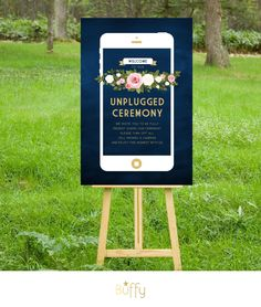$20 on ETSY | The FRANKIE . Unplugged Wedding Ceremony Sign . Gold & Navy Chalkboard iphone . White Blush Pink Roses Floral . Winter Wedding Custom PDF by BuffyWeddings on Etsy