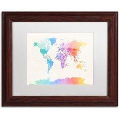 Trademark Fine Art 'Watercolor Political World Map' Canvas Art by Michael Tompsett, White Matte, Wood Frame, Beige
