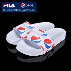 [Fila x Pepsi] Limited Slip On Sandal Slides Casual Shoe All Unisex Size White #FILA #Slides