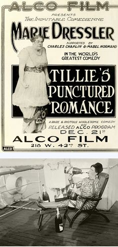"""(Top) """"Tillie's Punctured Romance"""" featured a young Charlie Chaplin and was one of 1914's biggest silent-movie hits."""