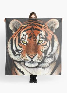 """Tiger portrait"" Scarf by Savousepate on Redbubble #scarf #clothing #drawing #siberiantiger #feline"