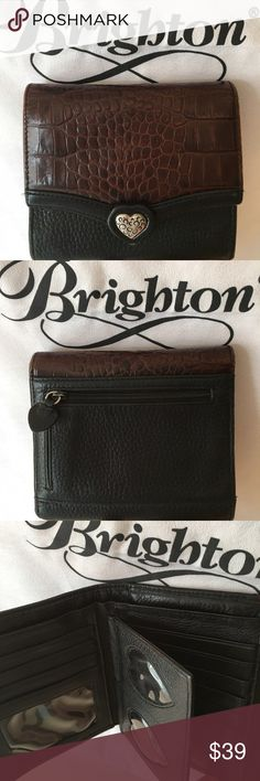 BRIGHTON WALLET AUTHENTIC BRIGHTON WALLET 100% AUTHENTIC. SUCJ A LOVELY WALLET! STUNNING AND STYLISH. THIS WONDERFUL WALLET HAS A GREAT REAR ZIP POCKET. ON THE INSIDE ARE TWO LARGE POCKETS, NINE CARD SLOTS, AND A IDENTIFICATION SLOT AND 4 AMAZING HEART SHAPED PICTURE FRAMES! SUCH A ADORABLE AND UNUSUAL ADDITION! WHEN CLOSED THIS BEAUTIFUL WALLET MEASURES 5.25 INCHES WIDE AND 4.75 INCHES TALL. A HREAT WALLET FOR SURE Brighton Bags Wallets