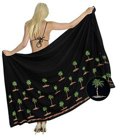 Beach Bikini Cover up Sarong Bathing Suit Swimsuit Swimwear Pareo Rayon Embroidered Black One Size Spring Summer 2017 * Be sure to check out this awesome product.  This link participates in Amazon Service LLC Associates Program, a program designed to let participant earn advertising fees by advertising and linking to Amazon.com.