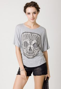 Lace Skull T-Shirt in Grey by Chic+ #Chicwish