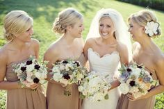 tan dresses with gorgeous flowers to compliment