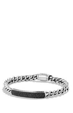 Women's David Yurman 'Petite Pave' ID Bracelet - Black Diamond