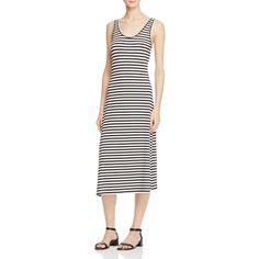 Rebecca Minkoff Vallejo Stripe Dress (325 BRL) ❤ liked on Polyvore featuring dresses, striped summer dress, white midi dress, summer dresses, summer tank dress and striped tank dress