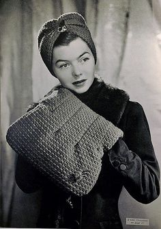 Knitted turban and muff/purse combo (how fab!), c. 1940s