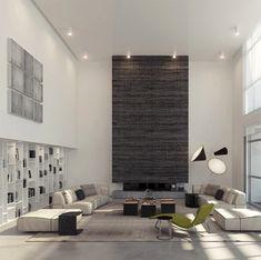 Living Room Decor for High Ceilings High Ceiling Decorating Ideas Modern Contemporary Living Room, Living Room Modern, Home Living Room, Living Room Designs, Living Room Decor, Modern Decor, Modern Rustic, Modern Interior, Contemporary Design
