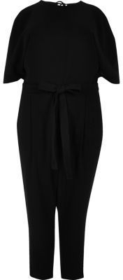River Island Womens RI Plus black cold shoulder jumpsuit -- Check out this great product.