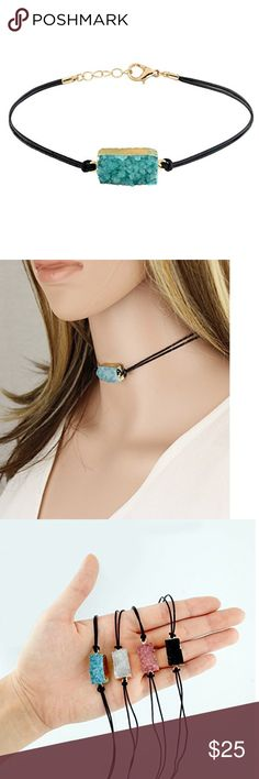 Turquoise Color Genuine Druzy Choker Genuine Druzy Stone and Leather Cord Length: 12 Inch / Extendable up to 15 Inch Measurement of Pendant Due to the nature of the product, the shape, color or texture may vary. Jewelry Necklaces