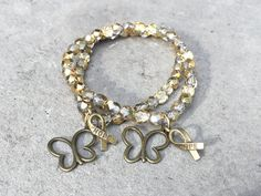 Butterfly bracelet,  hope ribbon, CureSearch, childhood cancer awareness, #GoGold, gold bracelet, pediatric cancer, cancer support by ButterflyWarriors on Etsy