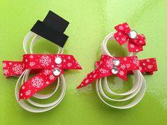 Snowman Snow Girl Hair Clip  Ribbon Sculpture by YayaAccessories, $3.49