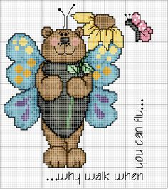 Points de croix *@* cross stitch Schema punto croce Orso-con-ali