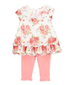 Pink Floral Puff-Sleeve Tunic & Pink Leggings - Infant & Toddler