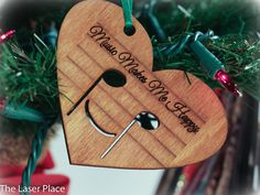 This special Christmas ornament uses common signs/symbols in reading music to make up the word music. This is a great gift for those that play