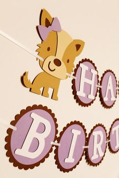Pretty Puppy Party Happy Birthday Banner by Pinwheel Lane on etsy