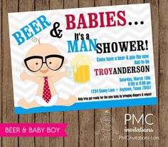 BUY THESE! Beer and Babies Diaper Party by PMCInvitations on Etsy, $1.00 EACH PRINTED!!   MINIMUM ORDER ONLY 10!! CAN ORDER ANY AMOUNT LIKE 13, 15, ETC!!