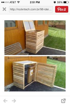 Cabinet for trash cans made from pallets. Recycle