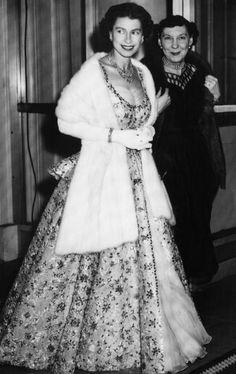 Her Majesty with US First Lady Mamie Eisenhower, White House, Washington, D.C., 1957