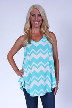 Alivia Aqua Blue and White Chevron Sleeveless Top from Heritwine Maternity. So cute with shorts.