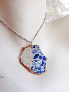 Broken Blue Flowers Ceramic Necklace