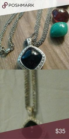 Possibilities Beautiful chain necklace. Black stone can be changed to different color stone. Necklace has extension. Can be as long as 25 in. Great with sweaters, blouses. Premier Designs Jewelry Necklaces