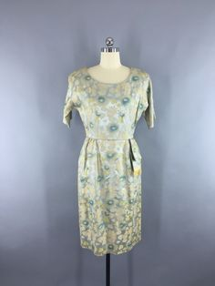 1950s Vintage Blue and Gold Satin Brocade Cocktail Dress